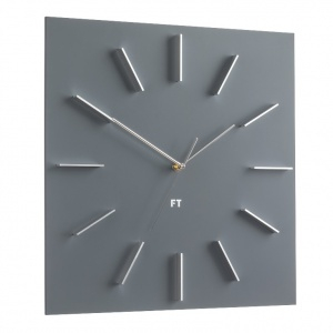 Wall Clock Future Time FT1010GY Square grey 40cm