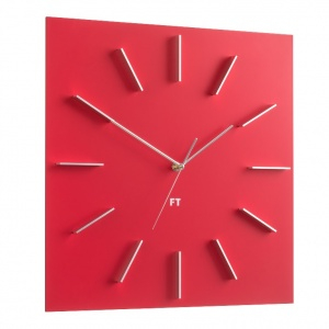 Wall Clock Future Time FT1010RD Square red 40cm