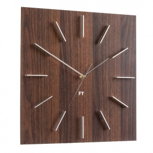 Wall Clock Future Time FT1010WE Square Dark Natural Brown 40cm