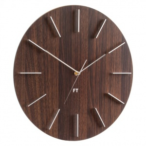 Wall Clock Future Time FT2010WE Round Dark Natural Brown 40cm
