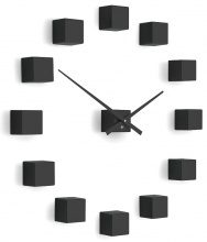 Designer self-adhesive wall clock Future Time FT3000BK Cubic black