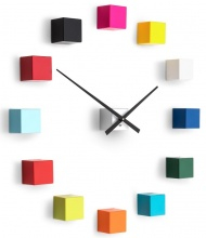 Designer self-adhesive wall clock Future Time FT3000MC Cubic multicolor