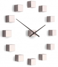 Designer self-adhesive wall clock Future Time FT3000PI Cubic pink