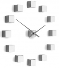 Designer self-adhesive wall clock Future Time FT3000SI Cubic silver