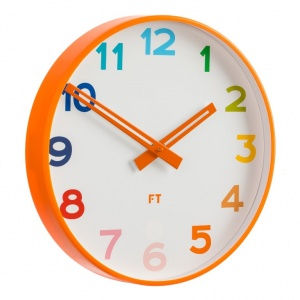 Wall clock for kids Future Time FT5010OR Rainbow orange 30cm