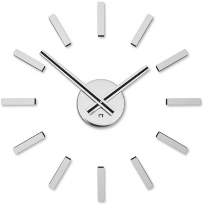 Designer self-adhesive wall clock Future Time FT9400SI Modular chrome 40cm Click to view the picture detail.