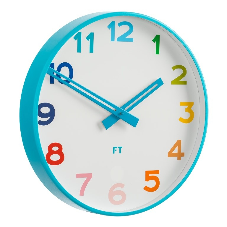 Wall Clock For Kids Future Time Ft5010bl Rainbow Blue 30cm Design